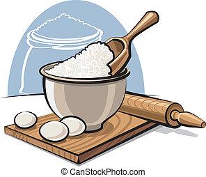 farinha, ovos, tigela