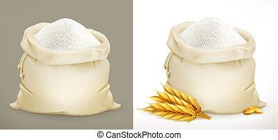farinha, wheat., saco, vetorial, ícone, 3d