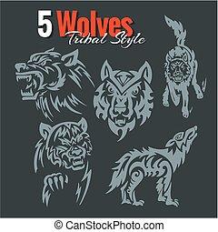 farkasok, alatt, törzsi, style., vektor, set.