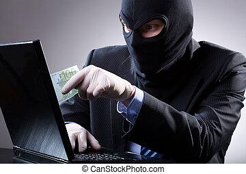 farlig, affärsman, bruk, a, laptop