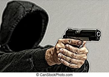 farlig, bandit, med, a, gevär
