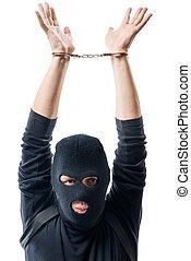 farlig, lagbrytare, i handklovar, händer huvud, på, a, vit fond