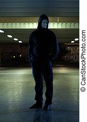 farlig, man, bära maskera