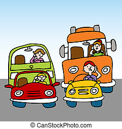 farlig, medan, användande, drivande, mobiltelefon