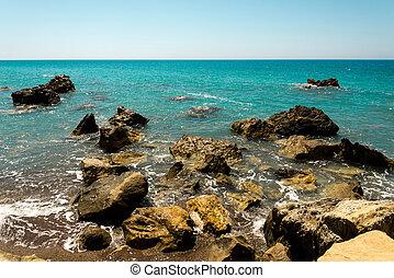 farlig, rockar, och, rev, nära, strand, in, pissouri, vik, cypern