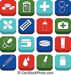 farmácia, ícones