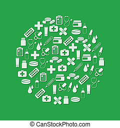 farmácia, ícones, em, círculo