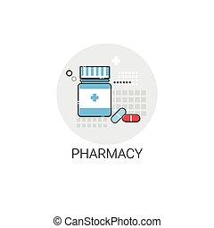 farmácia hospital, clínica, tratamento, doutores, médico, ícone