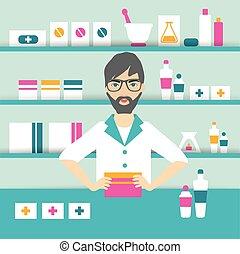 farmácia, químico, homem jovem, ficar, drugstore., vector., ...