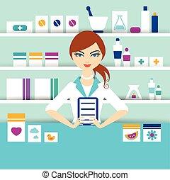 farmácia, químico, menina, jovem, ficar, drugstore., vector...
