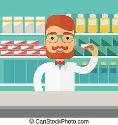 farmácia, químico, posição homem, drugstore., jovem