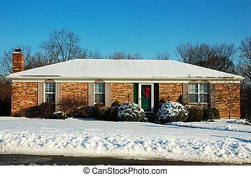 farm, épület, alatt, tél