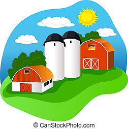 Farm - A colourful illustration of a farm