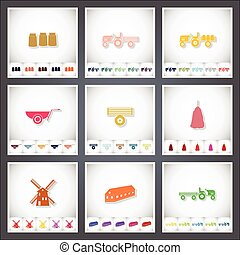 Farm. A set of flat stickers with shadow on white background