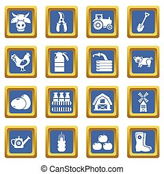 Farm agricultural icons set blue square