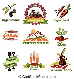 farm, agriculture icons, labels collection, set#1