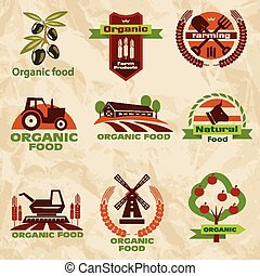 farm, agriculture icons, labels collection, set#2