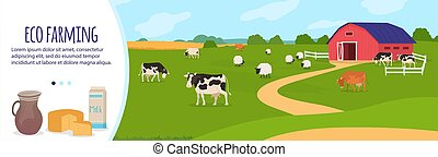 Farm agriculture vector illustration, cartoon flat countryside landscape with cattle farm, cow grazing on green rural farmfield background