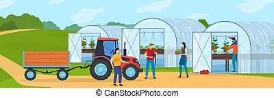 Farm agriculture vector illustration, cartoon flat farmer ...