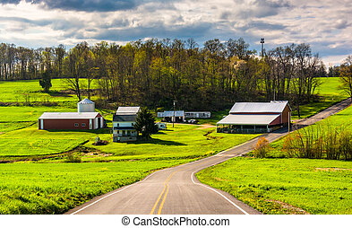 Farm along a country road in rural York County,...