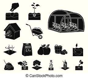 Farm and agriculture black icons in set collection for design. Garden and plants isometric vector symbol stock web illustration.