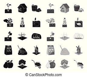 Farm and agriculture black. mono icons in set collection for design. Garden and plants isometric vector symbol stock web illustration.