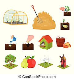 Farm and agriculture cartoon icons in set collection for design. Garden and plants isometric vector symbol stock web illustration.
