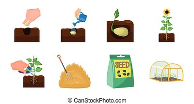 Farm and agriculture icons in set collection for design. Garden and plants vector symbol stock web illustration.