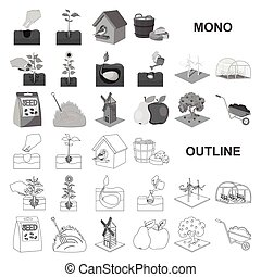 Farm and agriculture monochrom icons in set collection for design. Garden and plants isometric vector symbol stock web illustration.