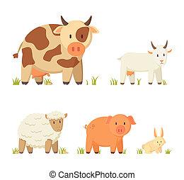 Farm and Domestic Animal Cartoon Illustration Set - Spotted...