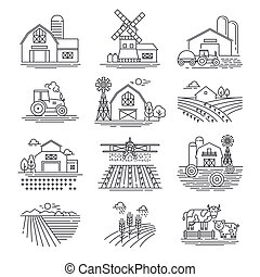 Farm and farming fields linear vector icons isolated on...