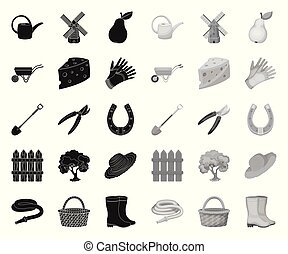 Farm and gardening black. mono icons in set collection for design. Farm and equipment vector symbol stock web illustration.