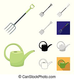 Farm and gardening cartoon, black, flat, monochrome, outline icons in set collection for design. Farm and equipment vector symbol stock web illustration.
