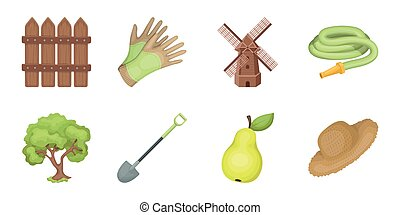 Farm and gardening icons in set collection for design. Farm and equipment vector symbol stock web illustration.
