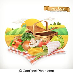 Farm and harvest, realistic vegetables. Corn, tomato, onions, pepper, carrot, lettuce, parsley. Isolated 3d vector icon