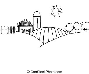 Farm And Silo On Farm Land - Coloring Page Outline Of...