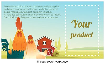 Farm animal and Rural landscape background with chicken 3 -...