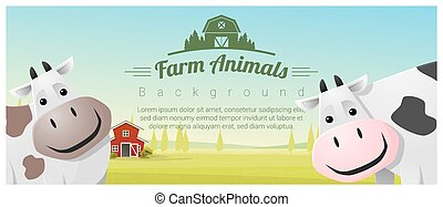 Farm animal and Rural landscape background with cows