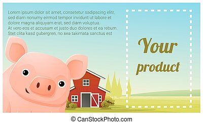Farm animal and Rural landscape background with pig 3 - Farm...