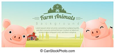 Farm animal and Rural landscape background with pigs ,...