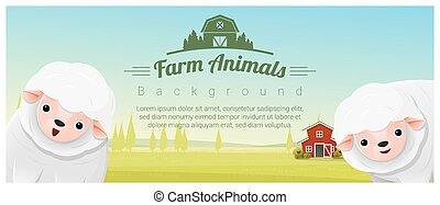 Farm animal and Rural landscape background with sheep 4 -...