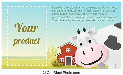 Farm animal and Rural landscape background with cow 5 - Farm...