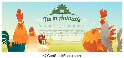 Farm animal and Rural landscape background with chickens ,...