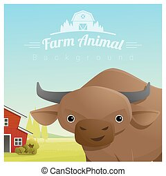 Farm animal and Rural landscape background with cow 4 - Farm...