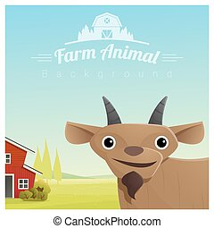 Farm animal and Rural landscape background with goat 2 -...
