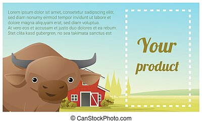 Farm animal and Rural landscape background with cow 6 - Farm...