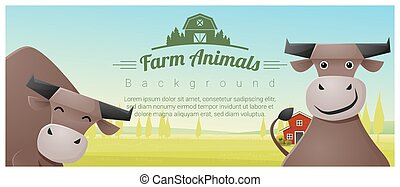 Farm animal and Rural landscape background with cows 2 -...