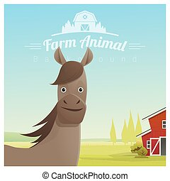 Farm animal and Rural landscape background with horse 2 -...