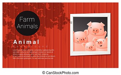 Farm animal background with pig