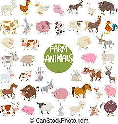 farm animal characters big set - Cartoon Illustration of...